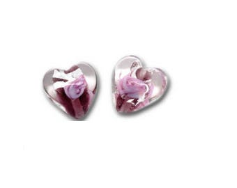 Set of 2 hearts 12 mm x 12 mm lampwork glass beads