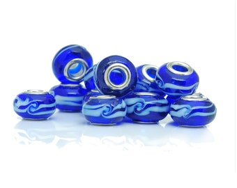 set of 4 Lampwork beads blue 14 mm white waves x 9 mm