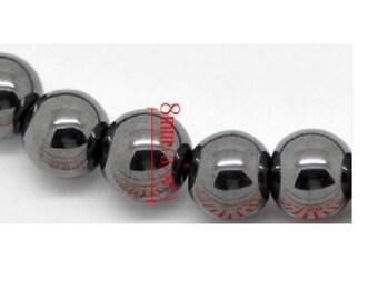 Set of 10 beads Hematite gunmetal 8mm