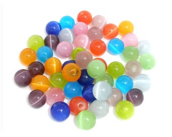 Lot of 25 7/8 mm cat eye beads mixed colors