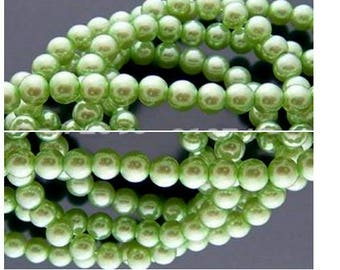 Set of 50 mm Green clair6 Pearly glass beads