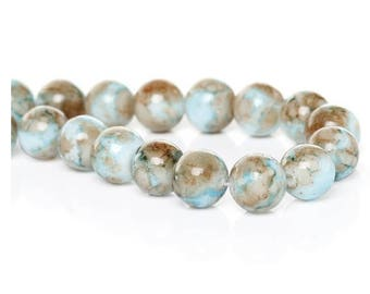 Set of 12 white marble effect glass beads, Brown, blue, 10 mm