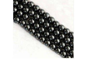 Set of 100 4 mm gunmetal black hematite beads