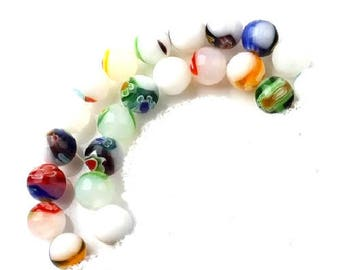 Lot of 10 7/8 mm lampwork glass beads mixed patterns