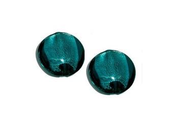 Set of 2 lampwork beads green ~ blue 20 mm x 10 mm