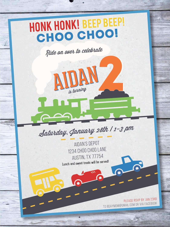Transportation Invitation Train Birthday Invite Car | Etsy