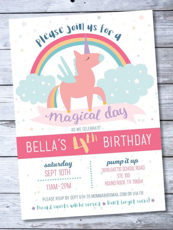 Unicorn Invitation Rainbow Birthday 4th