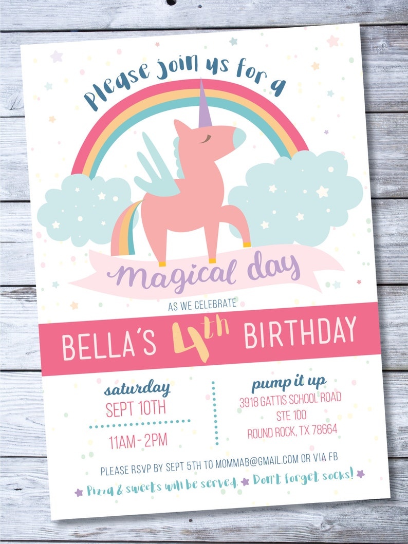 Unicorn Invitation Rainbow Birthday 4th