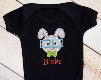 Personalized Easter Bunny Bodysuit, Boys Easter Outfit, Easter Applique Outfit, Easter Kids Shirt, Kids Easter Shirt, First Easter Shirt