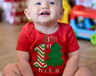 Baby's First Christmas Appliqué Bodysuit - Personalized Christmas Shirt - Christmas Baby Bodysuit 1st Christmas Outfit Rudolph Bodysuit
