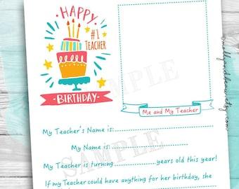 Teacher Birthday Gift Cute Teacher Birthday Questionnaire for Kids Teacher keepsake interview for kids Printable Teacher Gift  sc 1 st  Etsy & Teacher birthday | Etsy