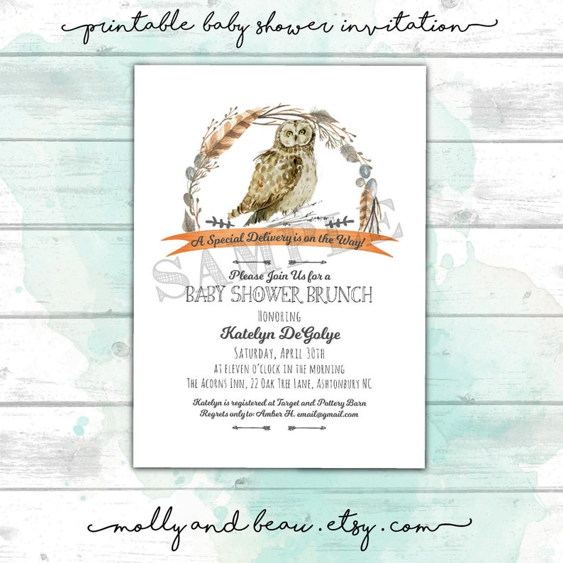 photograph about Printable Harry Potter Invitations referred to as Owl Youngster Shower Invites, Printable Harry Potter Influenced Kid Shower Invites Gender Impartial Child Shower, Mother nature Concept Little one Shower