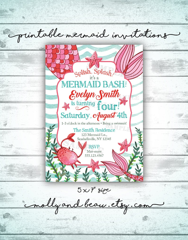 Mermaid Birthday Invitation Splish Splash Its A
