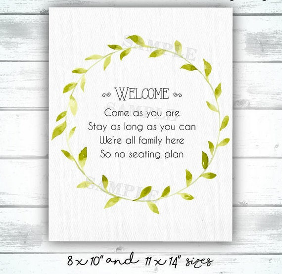 Were All Family Here So No Seating Plan Wedding Etsy