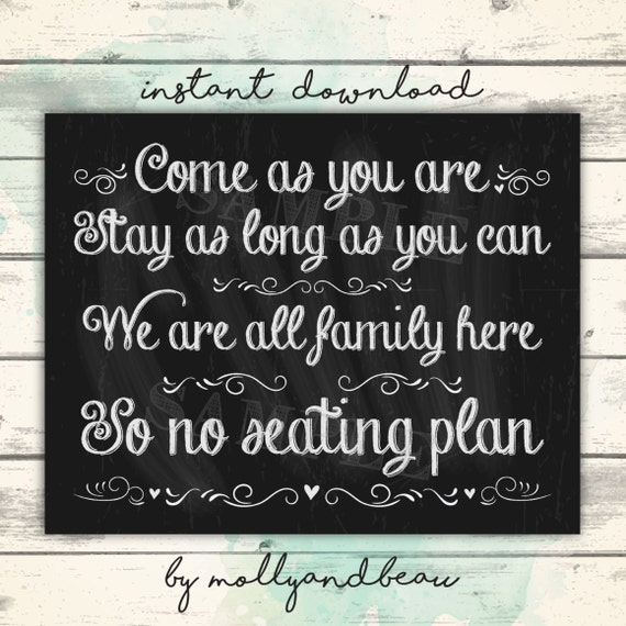 no seating plan sign come as you are seating plan wedding etsy