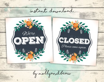 Cute Open and Closed Signs, Open Sign, Closed Sign, Instant Download Signs for Businesses, Printable Open/Closed Signs, Business Printable