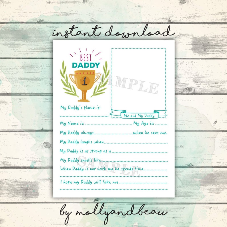 photo regarding Father's Day Questionnaire Printable named Fathers Working day Printable, All In excess of Daddy Questionnaire for little ones, Lovely Fathers Working day Reward versus Small children, Range A single Father, Easiest Father At any time Printable