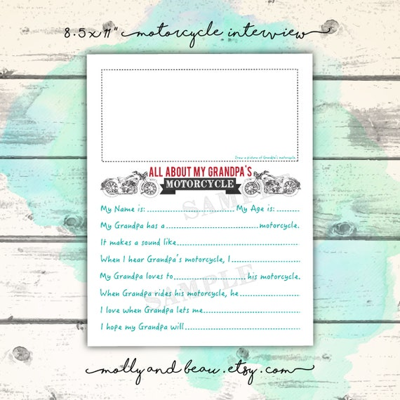 photo regarding Grandpa Questionnaire Printable identified as Bike Grandpa, Fathers Working day Printable, My Grandpa Rides a Bike, Grandpa Bike Questionnaire, Harley Grandpa Bike Present