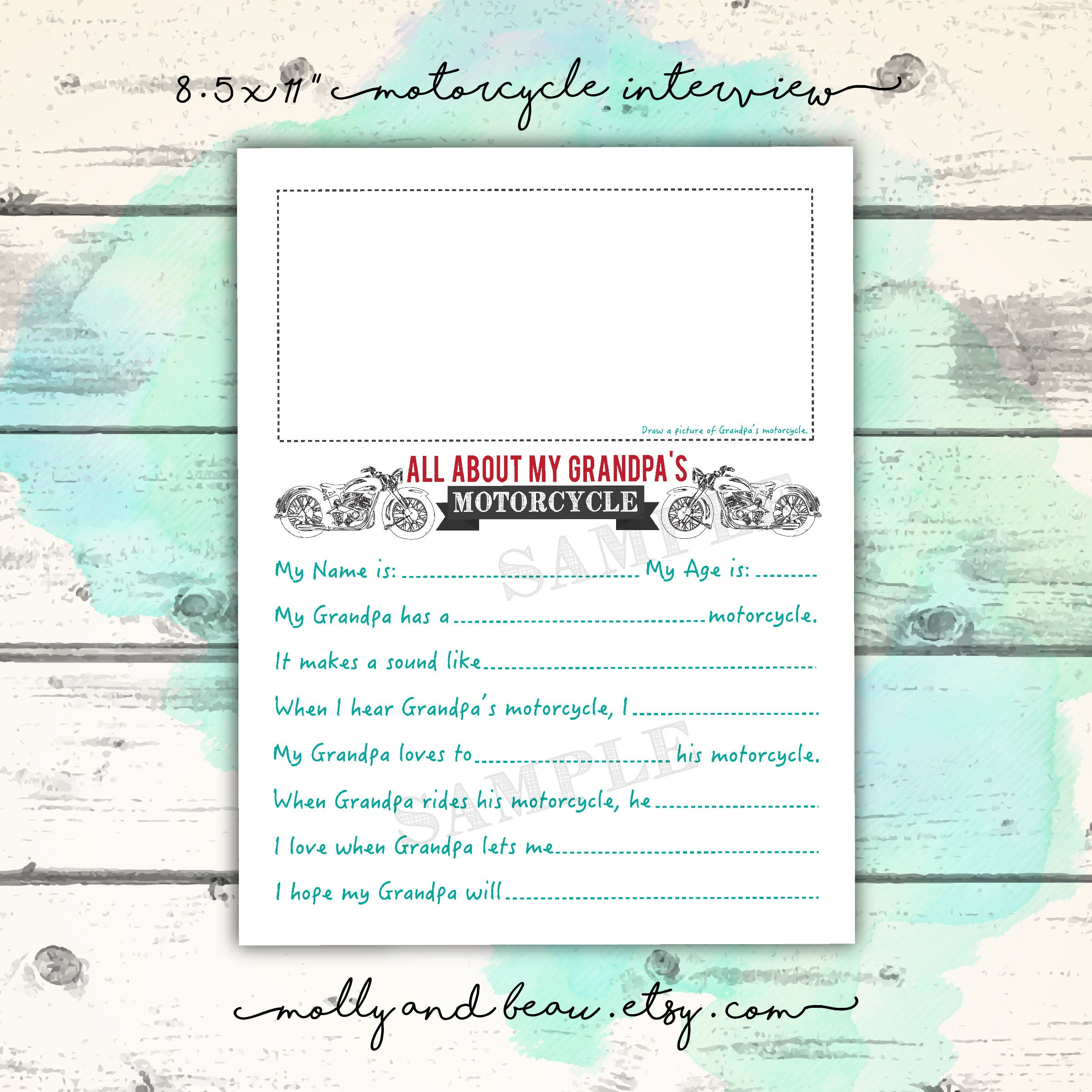 picture regarding Grandpa Questionnaire Printable identified as Motorbike Grandpa, Fathers Working day Printable, My Grandpa Rides a Bike, Grandpa Motorbike Questionnaire, Harley Grandpa Bike Reward