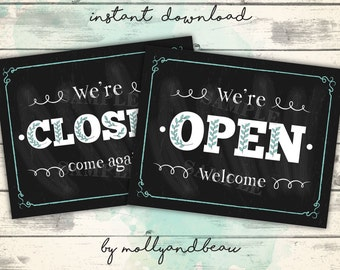 Open and Closed Signs, Printable Open Sign, Closed Sign, Downloadable Open Closed Signs, Printable Open/Closed Signs, Chalkboard Signs