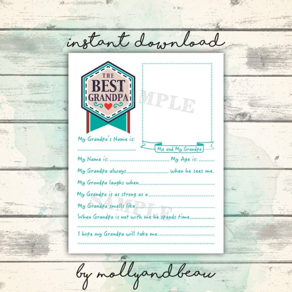 image about Father's Day Questionnaire Printable named Fathers Working day Printable, All Regarding Grandpa Questionnaire for young children, Adorable Fathers Working day Present for Grandpa in opposition to Small children, Grandpa Present Printable