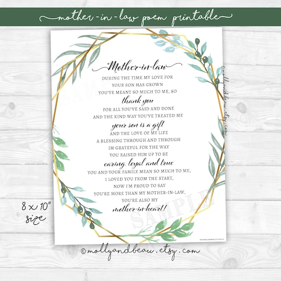 photograph about Printable Poem identified as Mom-Within-Legislation Printable Poem, 8x10\
