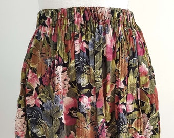 Vintage Dark Floral Crinkle Mini Skirt