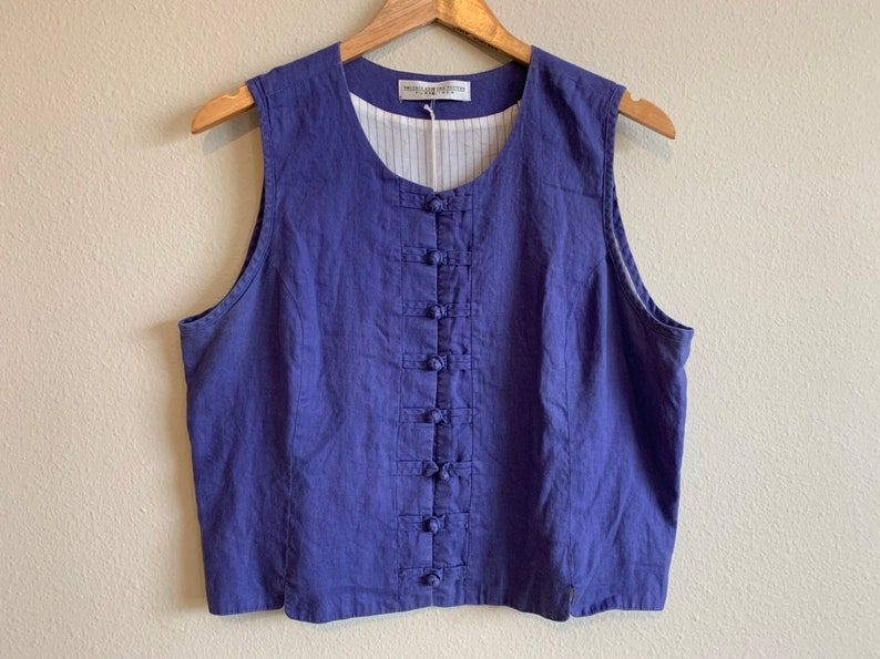 22fca2a0a3be8 Vintage 1990s 90s women s pure linen indigo sleeveless