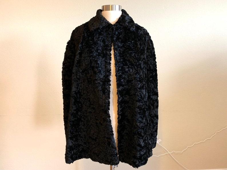 hot sale online 60487 b184d Vintage donna nera pelliccia riccia o pelliccia dal collare del capo o/s /  1960s 60s 1050s 50s / Stola scialle cappotto giacca / S M L
