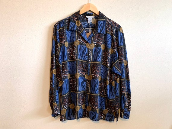 e10bf64b Vintage women's silk animal print baroque shirt size medium M / button  front long sleeve collared blouse top / zebra cheetah leopard blue