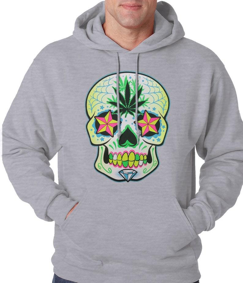 Pot Leaf Sugar Skull Hoodie #12146