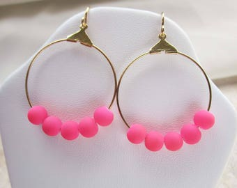 Neon Pink Beaded Hoop Earrings