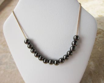 Thin Gold Chain with Dark Metallic Beads Necklace