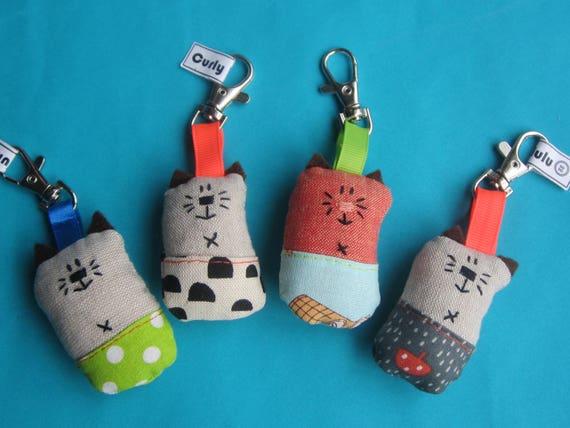 Hand sewn key ring or bag charm cat