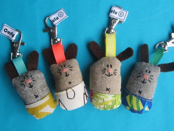 Hand sewn key ring or bag charm bunny