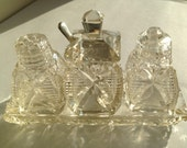 Vintage Edwardian Cut Glass Cruet Set with solid silver spoon