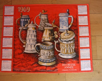 french vintage printed cotton Tea towel calendar from 1969, kitsch tea towel calender