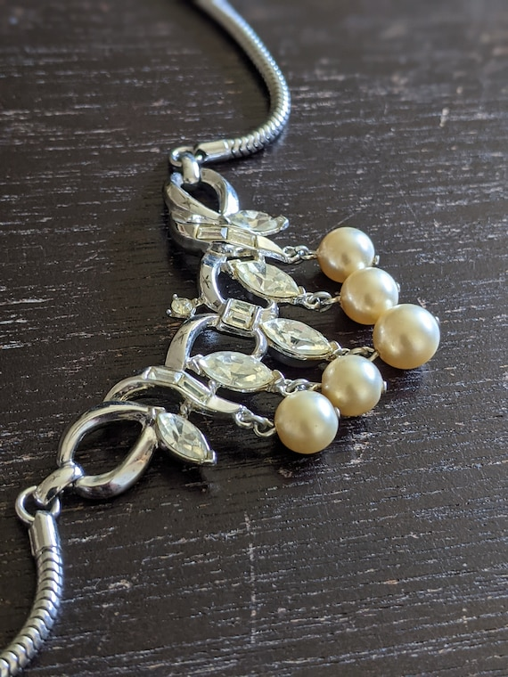 Vintage Trifari Rhinestone and Faux Pearl Necklace