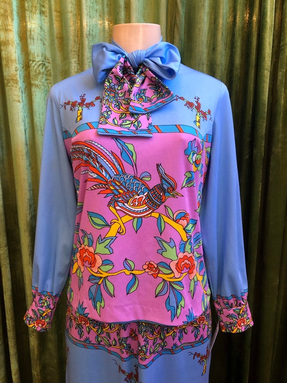 Bright psychedelic 70's bird and flower print max… - image 3