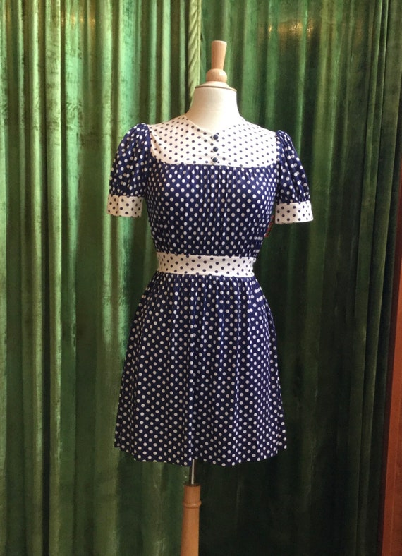 Vintage 1960's navy white polka-dot mini-dress
