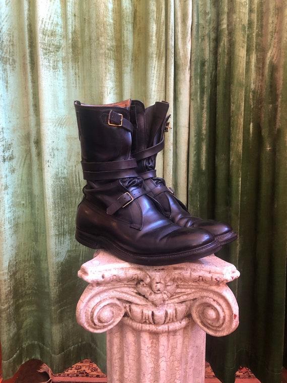 Vintage 1980s Dehner black leather tanker boots