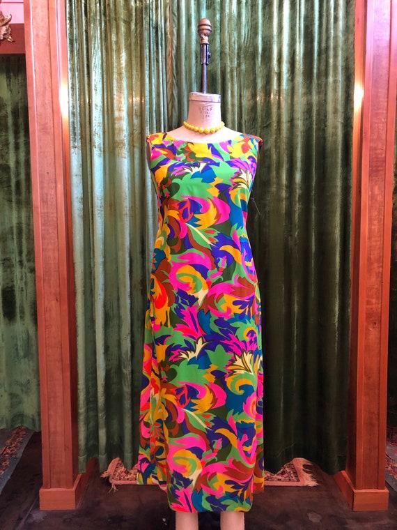 1960s Malihini tropical psychedelic maxi dress