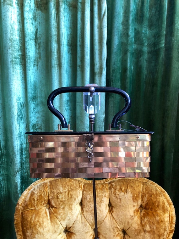 Late 1940s brass basket weave black lucite box pur