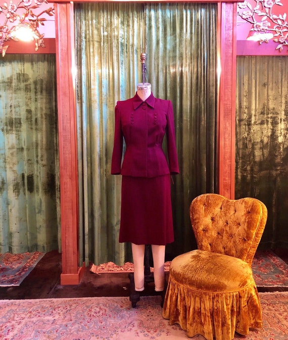 Vintage 1940's burgundy wool gabardine skirt suit
