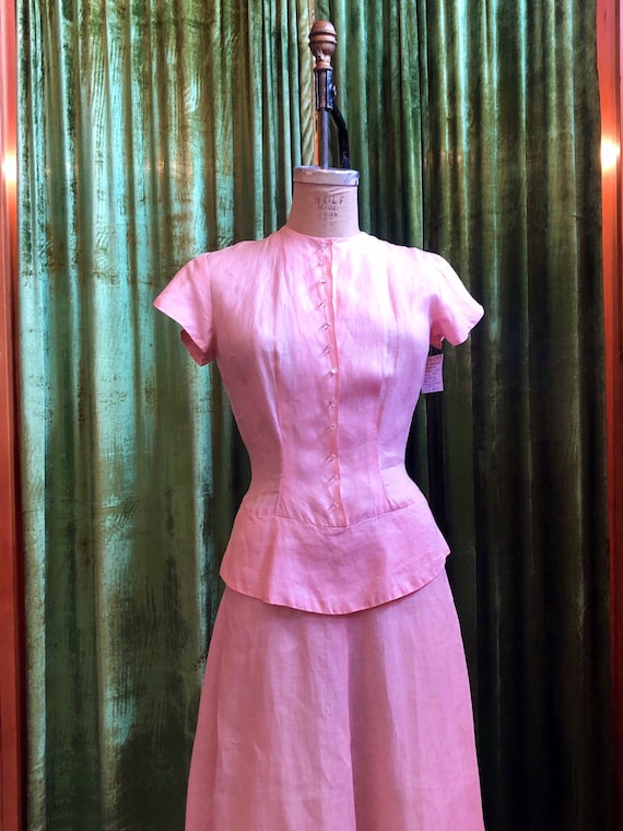 1930s pale pink linen peplum day dress