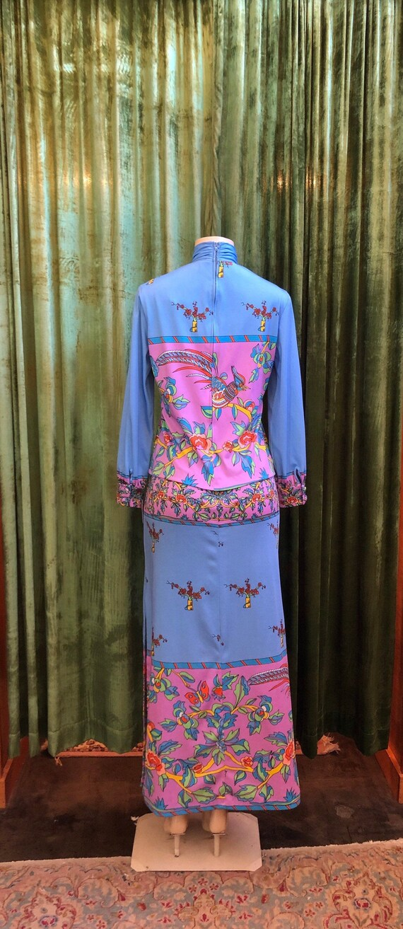 Bright psychedelic 70's bird and flower print max… - image 6