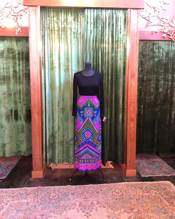 Vintage 60's psychedelic print maxi skirt