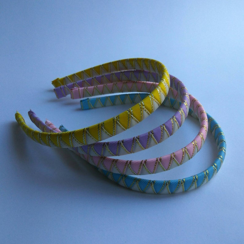 Set of 4 ribbon headbands Easter gift for girls or women Woven headband Pink Lilac Light blue Yellow