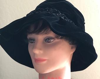 VTG 1960 s Christian Dior Chapeaux Paris NY. Black Velvet Floppy Brim Cloche  Hat. Avant Garde Ladies Formal Hat. d91b1d084cbf