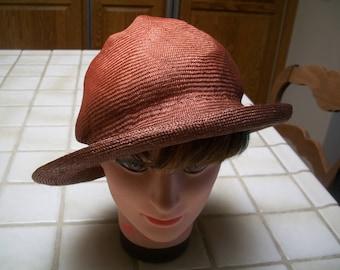 Vintage 1970 s 1980 s Finely Woven Soft Natural Fiber Rolled Brim Straw Summer  Hat. Hombred Rust Color Designer Hat. d9eff2d458ca